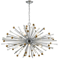 Williston 10 Light 39 inch Polished Chrome with Satin Brass Pendant Ceiling Light
