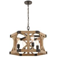 ELK 33322/4 Structure 23 inch Oil Rubbed Bronze/Natural Wood Chandelier Ceiling Light