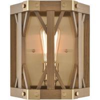 ELK 33330/1 Structure 9 inch Satin Brass/Medium Oak Sconce Wall Light