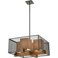 ELK 33345/4 Crossbeam 25 inch Oil Rubbed Bronze/Medium Oak Chandelier Ceiling Light