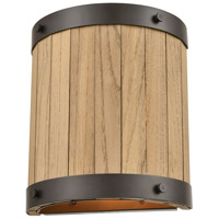 ELK 33360/2 Wooden Barrel 9 inch Oil Rubbed Bronze/Natural Wood Sconce Wall Light