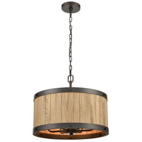 ELK 33364/6 Wooden Barrel 19 inch Oil Rubbed Bronze/Natural Wood Chandelier Ceiling Light