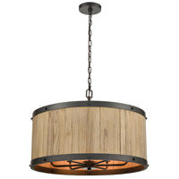 ELK 33366/6 Wooden Barrel 25 inch Oil Rubbed Bronze/Natural Wood Chandelier Ceiling Light