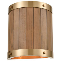 ELK 33370/2 Wooden Barrel 9 inch Satin Brass/Medium Oak Sconce Wall Light