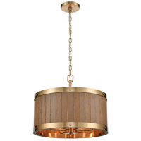 ELK 33374/6 Wooden Barrel 19 inch Satin Brass/Medium Oak Chandelier Ceiling Light