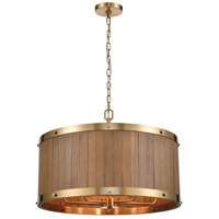 ELK 33376/6 Wooden Barrel 25 inch Satin Brass/Medium Oak Chandelier Ceiling Light