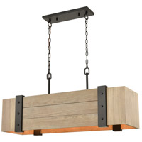 ELK 33386/5 Wooden Crate 40 inch Oil Rubbed Bronze/Natural Wood Island Light Ceiling Light