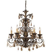 Rochelle 6 Light 28 inch Weathered Mahogany Ironwork Chandelier Ceiling Light