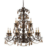 ELK 3345/8+4 Rochelle 12 Light 42 inch Weathered Mahogany Ironwork Chandelier Ceiling Light
