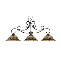 Tiffany Buckingham 3 Light 54 inch Vintage Antique Billiard/Island Ceiling Light in Standard