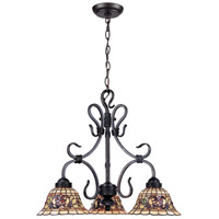 ELK 363-VA Tiffany Buckingham 3 Light 21 inch Vintage Antique Chandelier Ceiling Light
