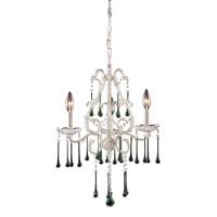 Opulence 3 Light 17 inch Antique White Chandelier Ceiling Light in Lime Crystal