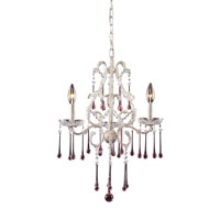 Opulence 3 Light 17 inch Antique White Chandelier Ceiling Light in Rose Crystal