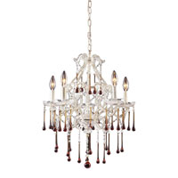 Opulence 5 Light 20 inch Antique White Chandelier Ceiling Light in Amber Crystal