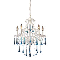 Opulence 5 Light 20 inch Antique White Chandelier Ceiling Light in Aqua Crystal