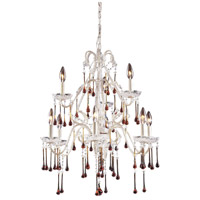 ELK 4003/6+3AMB Opulence 9 Light 25 inch Antique White Chandelier Ceiling Light in Amber Crystal