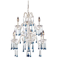 Opulence 9 Light 25 inch Antique White Chandelier Ceiling Light in Aqua Crystal