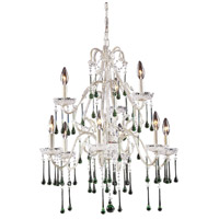 Opulence 9 Light 25 inch Antique White Chandelier Ceiling Light in Lime Crystal