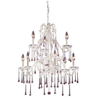 Opulence 9 Light 25 inch Antique White Chandelier Ceiling Light in Rose Crystal