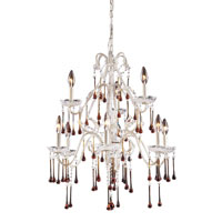 Opulence 9 Light 25 inch Antique White Chandelier Ceiling Light in Amber Crystal