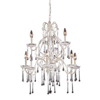 Opulence 9 Light 25 inch Antique White Chandelier Ceiling Light in Clear Crystal