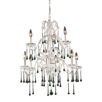 ELK 4003/6+3LM Opulence 9 Light 25 inch Antique White Chandelier Ceiling Light in Lime Crystal photo thumbnail