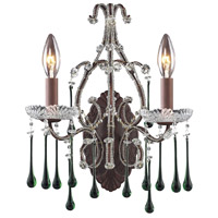 ELK 4010/2LM Opulence 2 Light 12 inch Rust Sconce Wall Light in Lime Crystal photo thumbnail