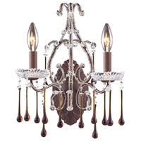 Opulence 2 Light 12 inch Rust Sconce Wall Light in Amber Crystal