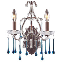 Opulence 2 Light 12 inch Rust Sconce Wall Light in Aqua Crystal