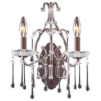 Opulence 2 Light 12 inch Rust Sconce Wall Light in Clear Crystal