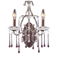 Opulence 2 Light 12 inch Rust Sconce Wall Light in Rose Crystal