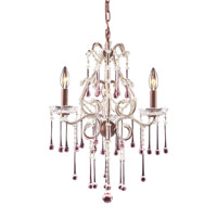 Opulence 3 Light 17 inch Rust Chandelier Ceiling Light in Rose Crystal