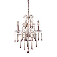ELK 4011/3AMB Opulence 3 Light 17 inch Rust Chandelier Ceiling Light in Amber Crystal
