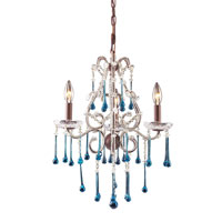 Opulence 3 Light 17 inch Rust Chandelier Ceiling Light in Aqua Crystal