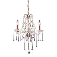 Opulence 3 Light 17 inch Rust Chandelier Ceiling Light in Clear Crystal