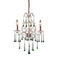 ELK 4011/3LM Opulence 3 Light 17 inch Rust Chandelier Ceiling Light in Lime Crystal