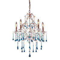 ELK 4012/5AQ Opulence 5 Light 20 inch Rust Chandelier Ceiling Light in Aqua Crystal photo thumbnail