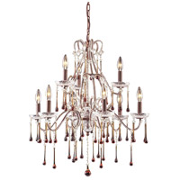 ELK 4013/6+3AMB Opulence 9 Light 25 inch Rust Chandelier Ceiling Light in Amber Crystal