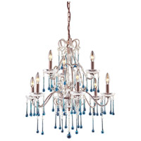 ELK 4013/6+3AQ Opulence 9 Light 25 inch Rust Chandelier Ceiling Light in Aqua Crystal