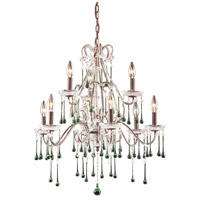 ELK 4013/6+3LM Opulence 9 Light 25 inch Rust Chandelier Ceiling Light in Lime Crystal