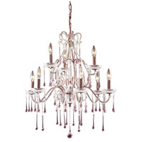 ELK 4013/6+3RS Opulence 9 Light 25 inch Rust Chandelier Ceiling Light in Rose Crystal