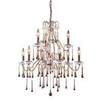 ELK 4013/6+3AMB Opulence 9 Light 25 inch Rust Chandelier Ceiling Light in Amber Crystal photo thumbnail