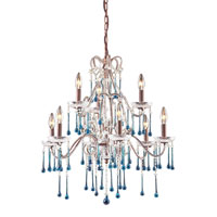 Opulence 9 Light 25 inch Rust Chandelier Ceiling Light in Aqua Crystal