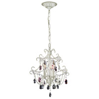 Elise 3 Light 13 inch Antique White Chandelier Ceiling Light in Triangular Canopy