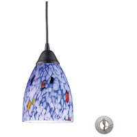 Classico 1 Light 5 inch Dark Rust Pendant Ceiling Light in Incandescent, Starburst Blue Glass, Recessed Adapter Kit