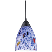ELK 406-1BL Classico 1 Light 5 inch Dark Rust Pendant Ceiling Light in Incandescent, Starburst Blue Glass, Standard