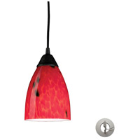Classico 1 Light 5 inch Dark Rust Pendant Ceiling Light in Incandescent, Fire Red Glass, Recessed Adapter Kit