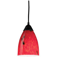Classico LED 5 inch Dark Rust Pendant Ceiling Light in Fire Red Glass, Standard