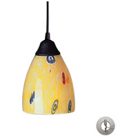 Classico 1 Light 5 inch Dark Rust Pendant Ceiling Light in Incandescent, Yellow Blaze Glass, Recessed Adapter Kit
