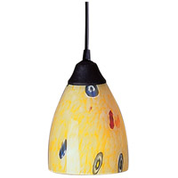Classico LED 5 inch Dark Rust Pendant Ceiling Light in Yellow Blaze Glass, Standard